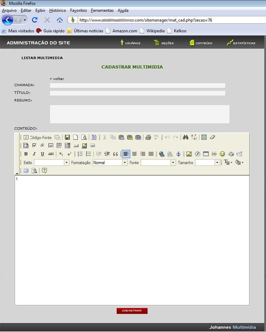 Site Manager como novo editor de textos